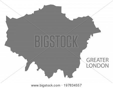 Greater London Administrative Area Map England Uk Grey Illustration Silhouette Shape