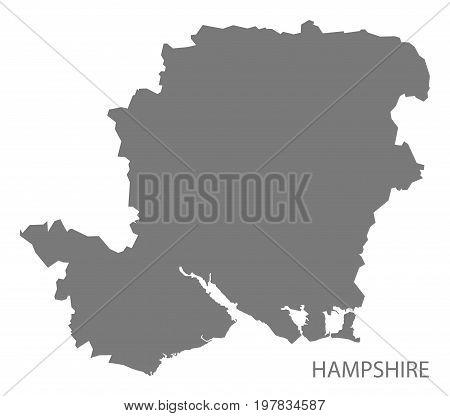 Hampshire County Map England Uk Grey Illustration Silhouette Shape