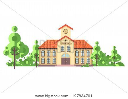 Stock vector illustration isolated back to school architecture two-story building with porch, clock on tower, trees bushes exterior behind structure white background in flat style video design element