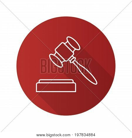 Gavel flat linear long shadow icon. Court hammer. Auction bid. Vector outline symbol