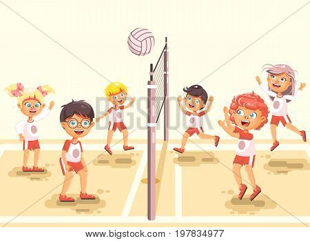 Stock vector illustration back to sport school children character schoolgirl schoolboy pupil classmates team game playing volleyball ball at physical education class sandy beach background flat style.