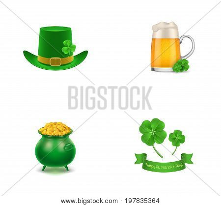 Patricks Day symbols icon set. Leprechaun hat Beer mug with clovers Green pot of gold coins Clovers with lettering