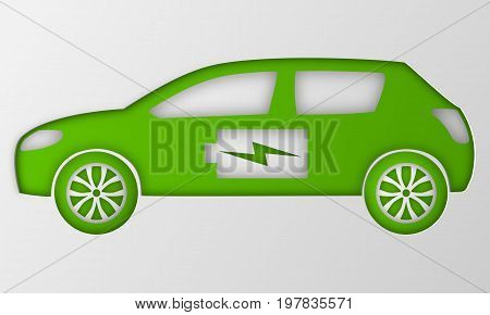 Green hybrid origami car. Paper art electric powered environmental vehicle. Contour automobile with battery sign. Vector illustration.