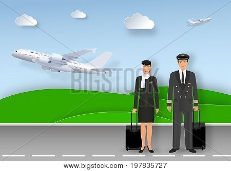 Paper art card with muslim pilot and stewardess in uniform and hijab standing on airport runway. Airlines service occupation characters with fly planes background. Origami style vector illustration
