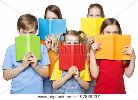 Children Reading Open Books School Kids Group Eyes behind Blank Covers