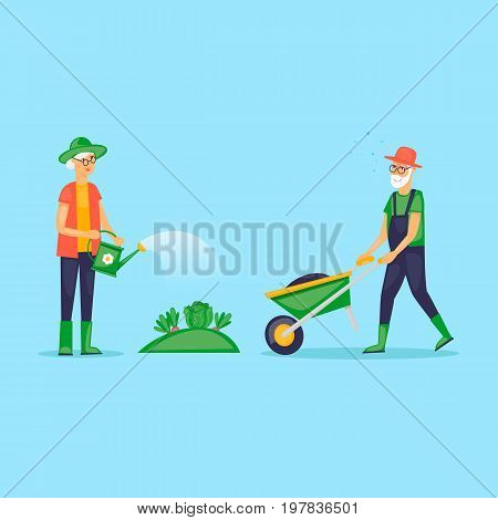 Grandmother watered the garden, retired, gardener. Grandfather with a wheelbarrow. Flat design vector illustration.