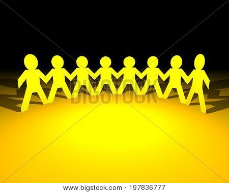 Paper people holding hands, success and teamwork concept