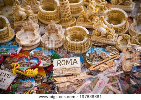 ROMA ITALY - OCTOBER 16 2016: Collection of rome fridge magnets on a large table