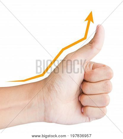 hand with thumb up and rising graph, business concept