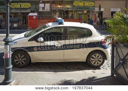 ROME ITALY - OCTOBER 16 2016: Parked police car in the city center of Roma