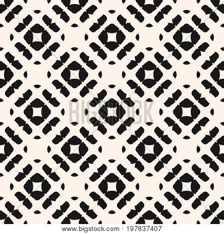 Seamless pattern. Simple modern abstract ornamental background with rounded shapes, squares rhombuses. Monochrome texture. Design pattern, textile pattern, covers pattern, web pattern, decor pattern, fabric pattern.