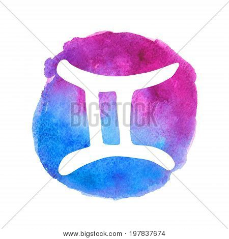 White Gemini sign on watercolor gradient background