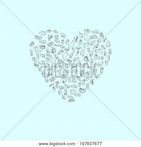 Kids shoes, set, collection of fashion footwear, poster in shape of heart. Baby, girl, boy, child, childhood. Vector design isolated illustration. Black outlines, blue background