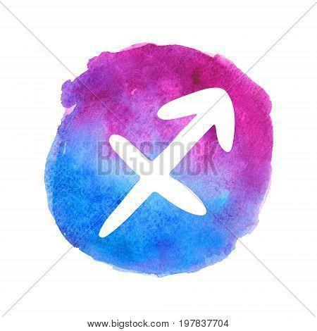 White Sagittarius sign on watercolor gradient background