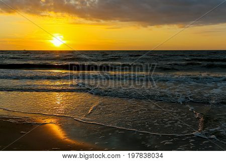 Sunset over the Baltic Sea in Kolobrzeg in Poland