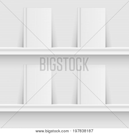 Blank book on book shelf. Hardcover Book Mock-Up isolated grey background. Vector illustration. Eps 10