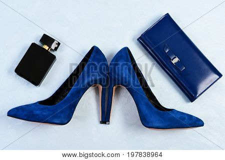 Shoes And Clutch In Dark Blue Color With Perfume Bottle