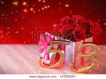 birthday concept with red roses in gift on wooden desk. 3D render - fifty-third birthday. 53rd