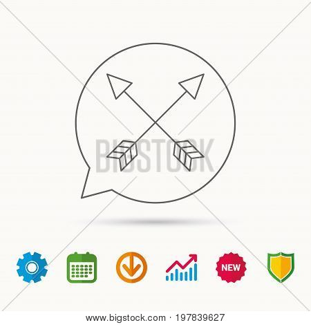 Bow arrows icon. Hunting sport equipment sign. Archer weapon symbol. Calendar, Graph chart and Cogwheel signs. Download and Shield web icons. Vector