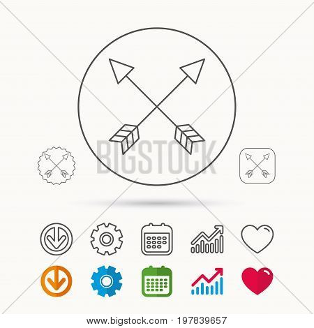 Bow arrows icon. Hunting sport equipment sign. Archer weapon symbol. Calendar, Graph chart and Cogwheel signs. Download and Heart love linear web icons. Vector