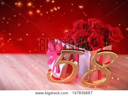 birthday concept with red roses in gift on wooden desk. 3D render - fifty-eighth birthday. 58th