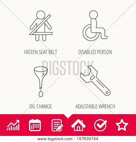 Seat belt, oil change and wrench tool icons. Disabled person linear sign. Edit document, Calendar and Graph chart signs. Star, Check and House web icons. Vector