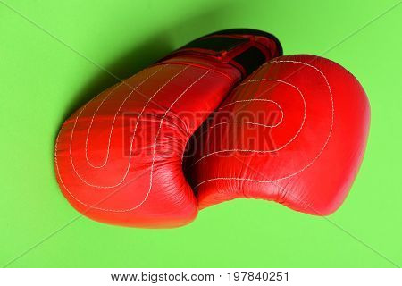 Sport Equipment Isolated On Bright Green Background. Red Boxing Gloves