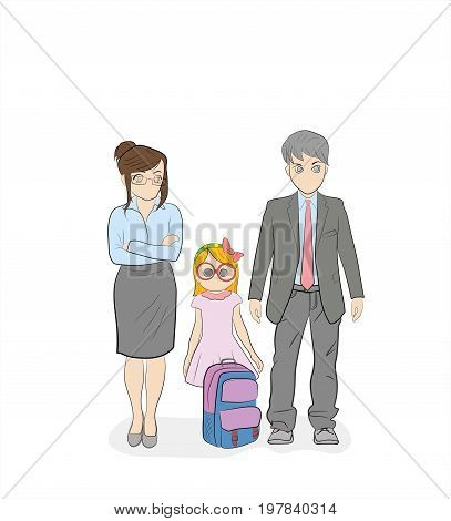 Parents are standing with their daughter a schoolgirl. Education. Hand-drawn cartoon vector illustration for design and infographics.