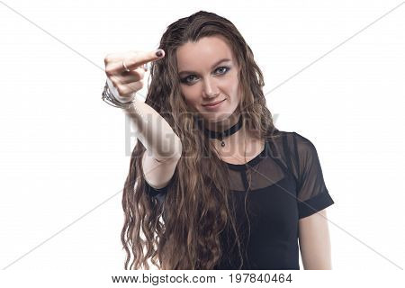 Showing middle finger blond woman with choker on white background