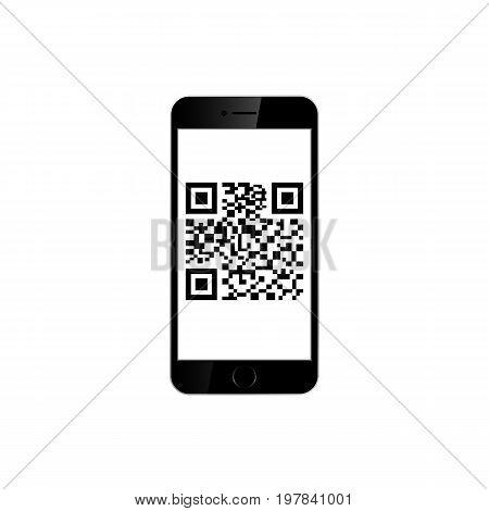 Mobile smartphone qr code isolated on white background. Vector illustration. Eps 10.