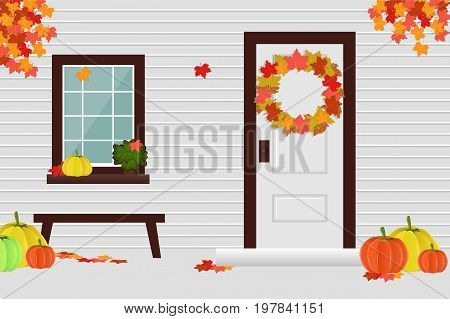 The facade of the house in the autumn season the yard the harvest. Vector illustration.