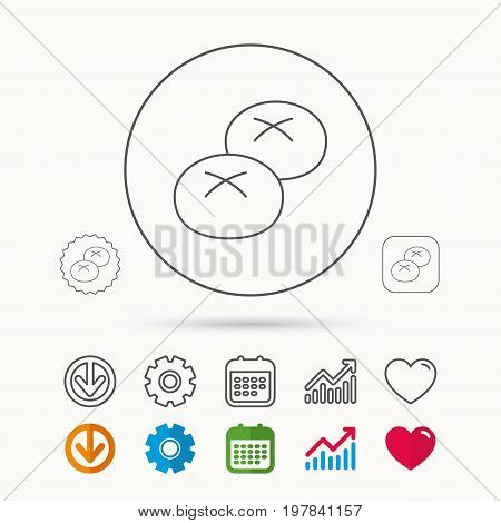 Bread rolls or buns icon. Natural food sign. Bakery symbol. Calendar, Graph chart and Cogwheel signs. Download and Heart love linear web icons. Vector