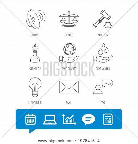 Strategy, auction and scales of justice icons. Save planet, water and lamp lightbulb linear signs. Faq and law hammer flat line icons. Report file, Graph chart and Chat speech bubble signs. Vector