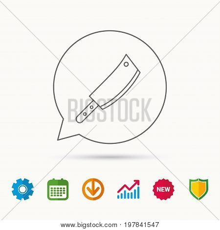 Butcher knife icon. Kitchen chef tool sign. Calendar, Graph chart and Cogwheel signs. Download and Shield web icons. Vector