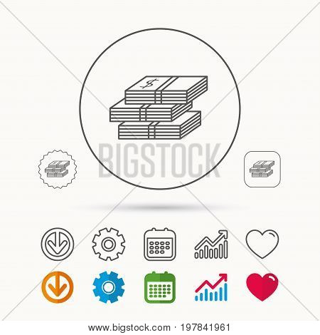 Cash icon. Dollar money sign. USD currency symbol. 3 wads of money. Calendar, Graph chart and Cogwheel signs. Download and Heart love linear web icons. Vector