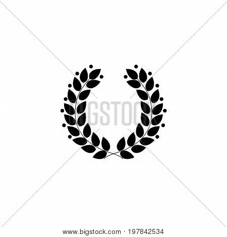 Laurel wreath black. Modern symbol of victory and award achievement champion. Leaf ceremony awarding of winner tournament. Monochrome template for badge tag. Design element. Vector illustration