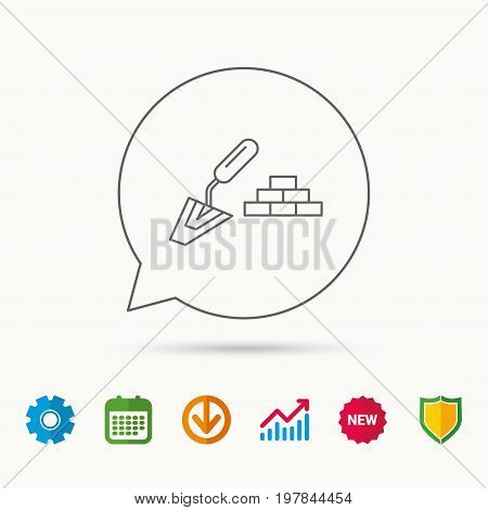 Finishing icon. Spatula with bricks sign. Calendar, Graph chart and Cogwheel signs. Download and Shield web icons. Vector