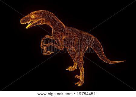 Dinosaur Raptor Velociraptor in Hologram Wireframe Style. Nice 3D Rendering poster