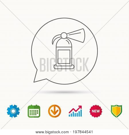 Fire extinguisher icon. Flame protection sign. Calendar, Graph chart and Cogwheel signs. Download and Shield web icons. Vector