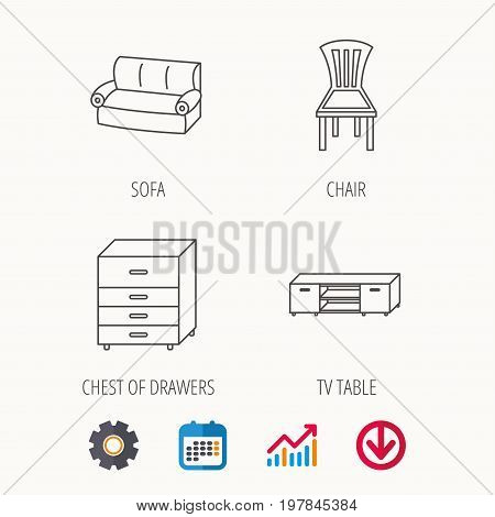 Sofa, chair and chest of drawers icons. TV table linear sign. Calendar, Graph chart and Cogwheel signs. Download colored web icon. Vector