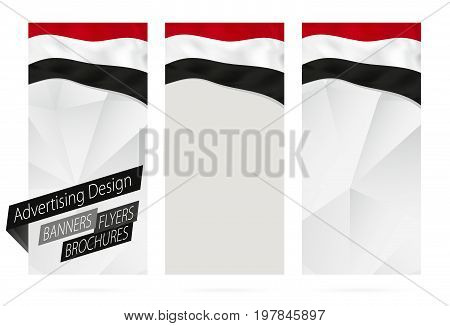 Design Of Banners, Flyers, Brochures With Flag Of Yemen.