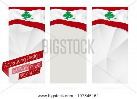 Design Of Banners, Flyers, Brochures With Flag Of Lebanon.