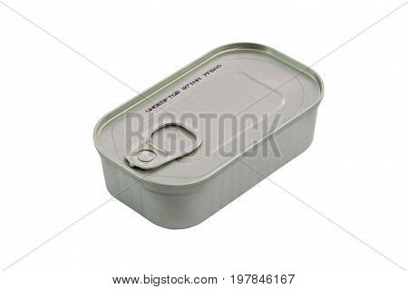 Closed Metal Can With Conserved Sprat Fish