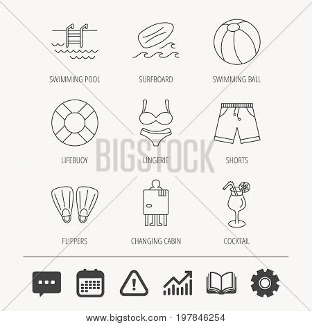 Surfboard, swimming pool and trunks icons. Beach ball, lingerie and shorts linear signs. Lifebuoy, cocktail and changing cabin icons. Education book, Graph chart and Chat signs. Vector