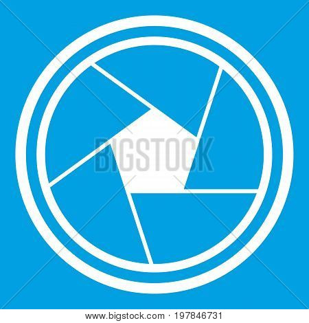 Photo objective icon white isolated on blue background vector illustration