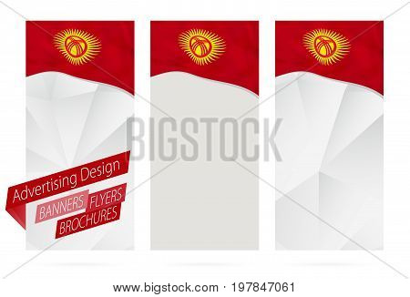 Design Of Banners, Flyers, Brochures With Flag Of Kyrgyzstan.