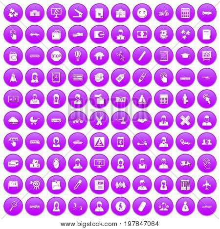 100 initiation icons set in purple circle isolated vector illustration