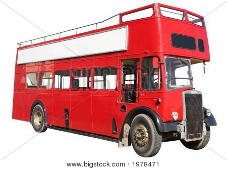 Old fashioned London red double-decker sightseeing open top bus isolated on a white background. poster