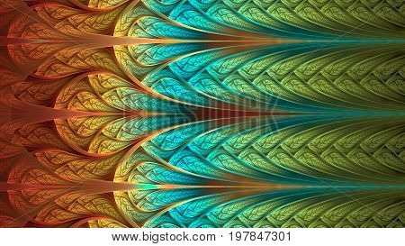 Abstract fractal background vivid orange cyan green mosaic ornamental pattern with curved stripes