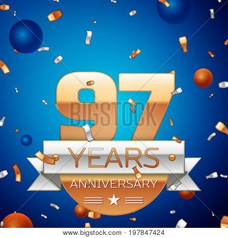 Realistic Ninety seven Years Anniversary Celebration Design. Golden numbers and silver ribbon, confetti on blue background. Colorful Vector template elements for your birthday party